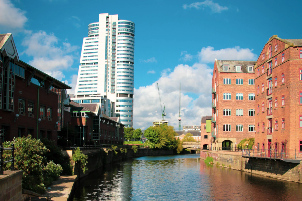Leeds canal and high rise buildings